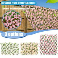 Artificial Garden Plant Expanding Fence Retractable Screen With Expandable Privacy UV Protected Decorative Flowers & Wreaths
