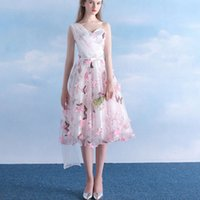 Hot Sales Floral Short Evening Dresses Bow Sash Summer Style 3D Flower Butterfly One Shoulder A-Line Tea Length Prom Pageant Gowns E160