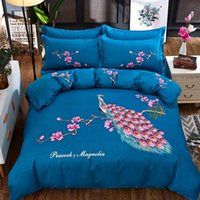 Bedding Sets 2021 Peacock Printing Queen Set Soft Bedclothes Luxury Duvet Quilt Cover Bed Linen Sheet 4 Pieces