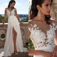 New Arrivals Sexy Sheer Neck Thigh-High Slits Aline Sleeveless Bridal Gowns Cheap Fashion Elegant Lace Long Beach Wedding Dresses