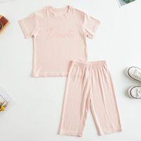 잠옷 2-12 년 솔리드 컬러 아기 옷 세트 여름 캐주얼 소년 소녀 2pcs 유니섹스 아이 의류 세트