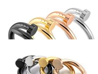2021 Stainless Steel Nail Band Rings for Women Men jewelry Cubic Zirconia Gold Silver Rose Black Ring with red bag