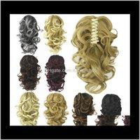Produits Drop Drop Livraison 2021 8 couleurs à ondes profondes Synthetic griffe de queue de queue de queue de queue de cheveux Human Hair Extensions Bundles PonyTails MW062 Expédition par 9FJik