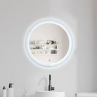 빛 24 인치 라운드 모양의 Dimmable 방지 안개 백라이트 벽 마운트 Defogger 원 메이크업 색 온도 5000k와 LED 욕실 허영 거울