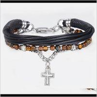 Trendsmax Natural Tiger Eye Stone Beaded For Men Boy Women Stainless Steel Cross Charm Leather Bracelet Jewelry Kdlb71 Xozgt St Uwxsf