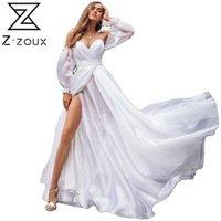 Z-Zoux Frauen Kleid Weiße Chiffonkleider V-Ausschnitt aus Schulter Maxi Party Hohe Taille Split Große Saum Bohemian 2021 Casual
