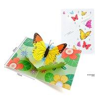 Encantador 3D pop Up Butterflies románticos Tarjeta de felicitación Corte láser Corte de animales Dibujos animados Dibujos animados Dibujo creativo Hecho a mano EWF6273