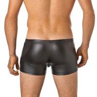 Cavhero Sexy Cuir Sexy Cuir Boxer pour hommes avec design U-Convex en cuir imitation et des boutons faciles à supprimer