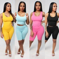Women Solid Two Pieces Sets Tracksuits Tank Tops Knee Length Jogger Shorts Suit Sporty Fitness Night Club 2 Pcs Outfit S-2XL