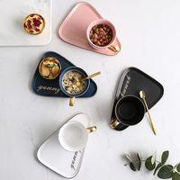 Coupe de café céramique nordique et soucoupe Ensemble créatif européen de luxe petit-déjeuner de luxe Snack-midi plateau de vaisselle de thé 260 ml 1699 v2