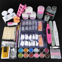 Nail Art Kitleri Tam Manikür Set Pro Matkap Makinesi Ile Pro Akrilik Kiti Sıvı Tutkal Glitter Toz İpuçları Aracı