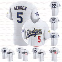 2021 Gold World 시리즈 다저스 Mookie Betts Jersey Cody Bellinger Corey Seager Walker Buehler Clayton Kershaw Justin Turner Julio Urias Dustin Max Max Max Max