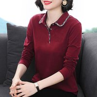 Women's T-Shirt summer 100% cotton t shirt woman long sleeve the neck plus size Korean style loose s IQ7D