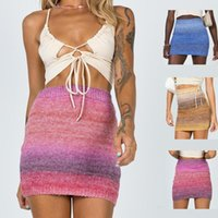 Skirts 2021 Bag Hip A-line Skirt Gradient Rainbow Color Woolen Half-length Stretch Beach Leisure Vacation Style Beauty