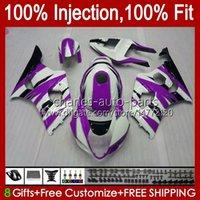 Injection Mold Kit For KAWASAKI NINJA ZX-636 ZX600 ZX 6R 6 R 600 CC 03-04 Body 8No.143 ZX 636 600CC ZX6R 03 04 ZX600C ZX636 ZX-6R 2003 2004 Fairing OEM Bodywork purple white