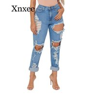Women's Jeans Sexy Street Club Destroyed Ripped Boyfriend For Women Damage Big Hole Woman Baggy High Waisted Distressed Long