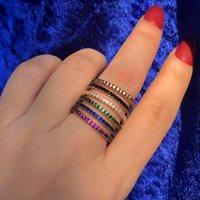 Кластерные кольца роскошные полные прокладки Cubic Zircon тонкое тонкое кольцо для женщин многоцветные Scaring CZ Boho Stacks Stackable State Party Party