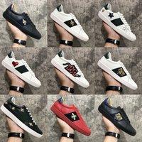 Ankomst Mode Män Kvinnor Casual Skor Sneakers Toppkvalitet Äkta Läder Bee Broderad 36-46