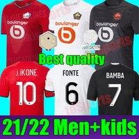 LOSC 2021 2022 Jerseys de fútbol Burak David Fonte Bamba Yazici Camisa de Fútbol Inicio 31 22 Lille Olympique Jikone 10 Maillot Hombres adultos + Kit Kids