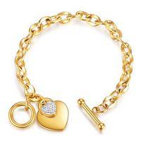Fashion Jewelry 18K Gold Plated Cross Chain Diamond Heart Charm Bracelets Stainless Steel OT Buckle Heart Bracelet For Girls