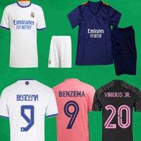 21 22 Real Madrid Soccer Jerseys Kurzes Zuhause Dritter Fußball Kits Alaba Gefahren Zidane Benzema Fußball Hemd Camiseta de Futbol Männer Kinder Sets