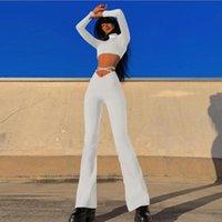 Women's Pants & Capris JIAK Women Sexy High Waist Bodycon Bell Bottom Black Lace Up 2021 Flare Female Party Skinny Wide Leg Ladies