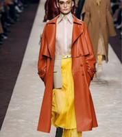 Cuoio femminile Faux Spring Womencoat Brand 2021 Giacca autentica Giacca di alta qualità Vestiti lunghi Abbigliamento Doppio Insportare Natural Real Sheepskin