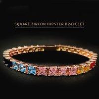 Iced out Cubic Zirconia colorful tennis bracelet single row hip hop diamond chain women men jewelry