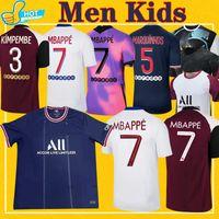 Mbappe Verratti Kean Soccer Jersey 2021 2022 Di Maria Kimpembe Marquinhos Icardi Pre-Match قميص كرة القدم 21 22 رجالي + Kids Kit