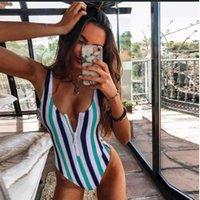 One-Piece Suits 2021 Sexy Zipper One Piece Swimsuit Women Stripe Swimwear Bodysuit Push Up Monokini Bathing Suit Summer Beachwear #G3