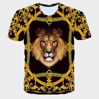 Factory3VC0 mens Summer new tshirt 3D T Golden shirts Flowers lions blue stripe letter American USA flag Eagle printed men