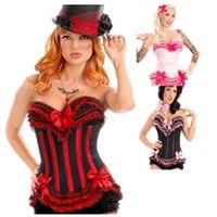 امرأة bustiers المرأة مثير سخرية مشد الأعلى أسود أحمر lacing المتابعة بوستير bowknots منزعج الجوفاء overbust الكورسيهات الرقص حزب