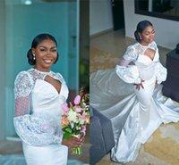 2021 Elegant Poet Long Sleeves Mermaid Wedding Dresses Luxury Lace Applique African Plus Size Sheath Bridal