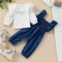 Clothing Sets Fall Winter Baby Girls Princess Set Cute Cotton Lace Floral Long Sleeve T-Shirt+Snaps Suspenders Pants For Toddlers