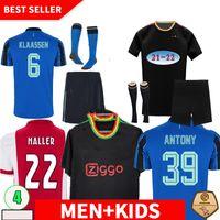 플레이어 버전 Haller 21 22 3RD 블랙 암스테르담 축구 유니폼 2021 2022 Tadic Klaassen Traore Promes Neres Cruyff Men + Kids Kit 축구 셔츠 유니폼