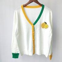 Shipping Free 2021 Autumn White Black Fruit Embroidery Rhinestone Autumn Women's Cardigan Brand Same Style Women's Sweaters DH2309