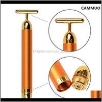 Abnehmen 24k Gold Vibration Gesichtsschönheit Roller Stick Lift Haut Anziehen Faltenbügel mit GWOIU Efhjr