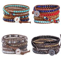 Stone Beads Leather Bracelets 5 Wrap Adjustable Charm Women Men Jewelry Gifts 2021 Long Bracelet