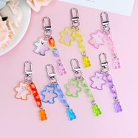 Keychains Cute Bear Keychain Girl Heart Jelly Color Chain Keyring Mobile Phone Bag Car Fun Pendant Gift Accessries