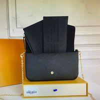 M80482 M69977 Diseñadores de lujos Bolsas de hombro Pochette Felicie Bolsa de cadena de 3 piezas Conjunto de bolsos de mujer Bolsos de la tarjeta de la tarjeta de la tarjeta de la tarjeta con la caja con la caja