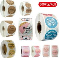500pcs roll 10 Styles Flowers Heart Thank You Adhesive Sticker Scrapbooking Handmade Business Packaging Seal Decoration Stickers wjl0005