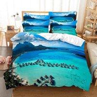 Bedding Sets 2-3 Pieces Sunshin Coconut Tree Set Duvet Cover 3d Digital Printing Bed Linen Queen Size