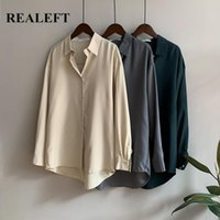 Women's Jackets REALEFT 2021 Spring Autumn Turn-down Collar Blouse Solid Casual Loose Female Tops Workwear Office Shirts