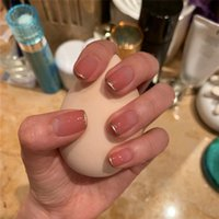 False Nails 24 Pieces box Of Fake With Patterns Make Glue Pink Extra-long Nail Coffin Removable Patch