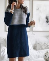 Casual Dresses Winter Polar Fleece Sweater Stitching Loose Straight Large Size Round Neck Long Sleeve Women Knitted Dress Lady Elegant