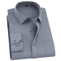 QISHA MENS Camisa Manga Longa Negócio Esperto Casual Color Sólido Slio Masculino Roupa Magro Profissional Novo Cinza Cinza Camisa Homem 210329