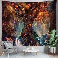 3D 나무 태피스 트리 판타지 숲 동화 거실 침실 벽 장식 장식 마법의 삶의 나무 신비로운 빛나는 초 롱 태피스트리