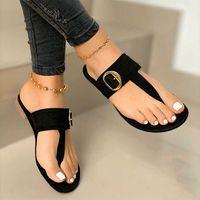 Zapatillas para mujer PU Cuero Clip Toe Sandalias Verano T Atado Ladies Zapatos Playa Casual Mujer Flip Flops Moda Femenino 2020 Calzado