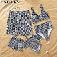 Aile Mayolar Klasik Ekose Ön Yay-Düğüm Mayo Kadınlar Yaz Plaj Kız Bikini Seti Erkekler Erkek Erkek Şort İki Parçalı Takım Elbise
