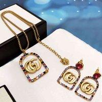 Belle gioielli online GUJIA 2021 nuovo stile Diamond Square collana Doppio donna Doppio 65% sconto Store Vendita online